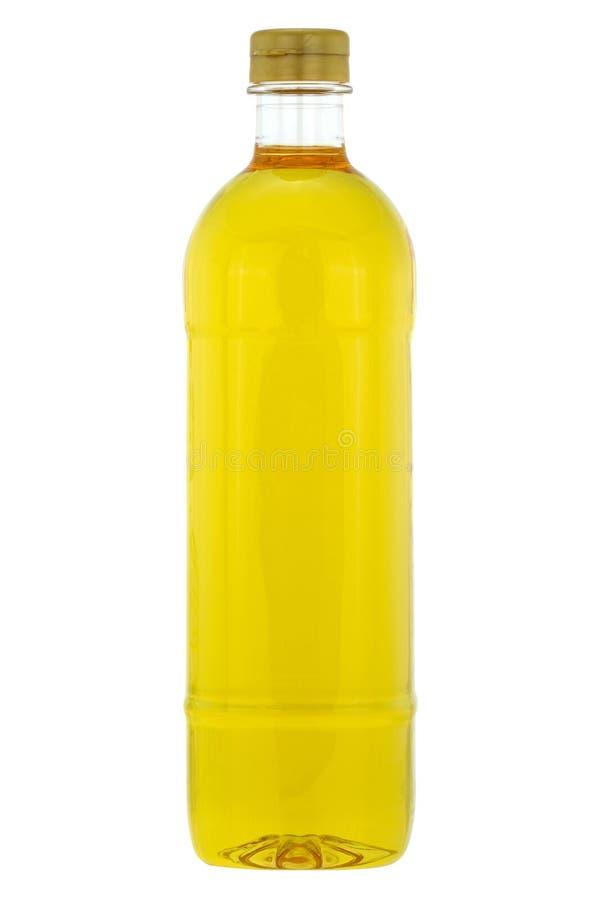 一个瓶米糠油,在白色隔绝的烹调用油 免版税图库摄影