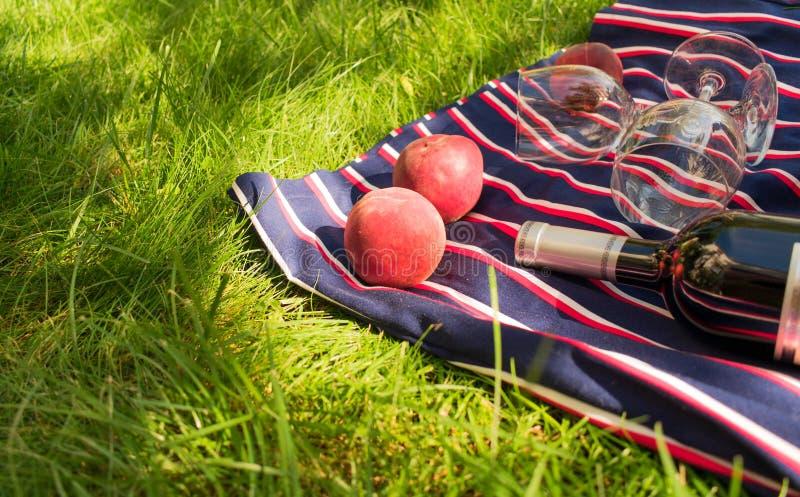 一个瓶酒,玻璃,桃子,在绿草背景  一顿浪漫野餐的概念 库存图片
