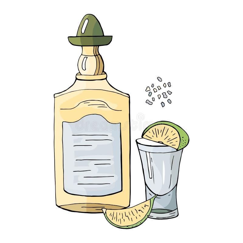 一个瓶龙舌兰酒和在白色石灰隔绝的一杯 手拉的墨西哥龙舌兰酒集合 库存例证