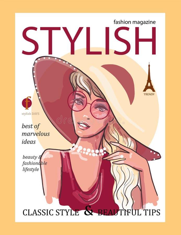 一个甜夫人的头有轻的长发的,在时尚红色女衬衫杂志封面的大帽子 库存例证