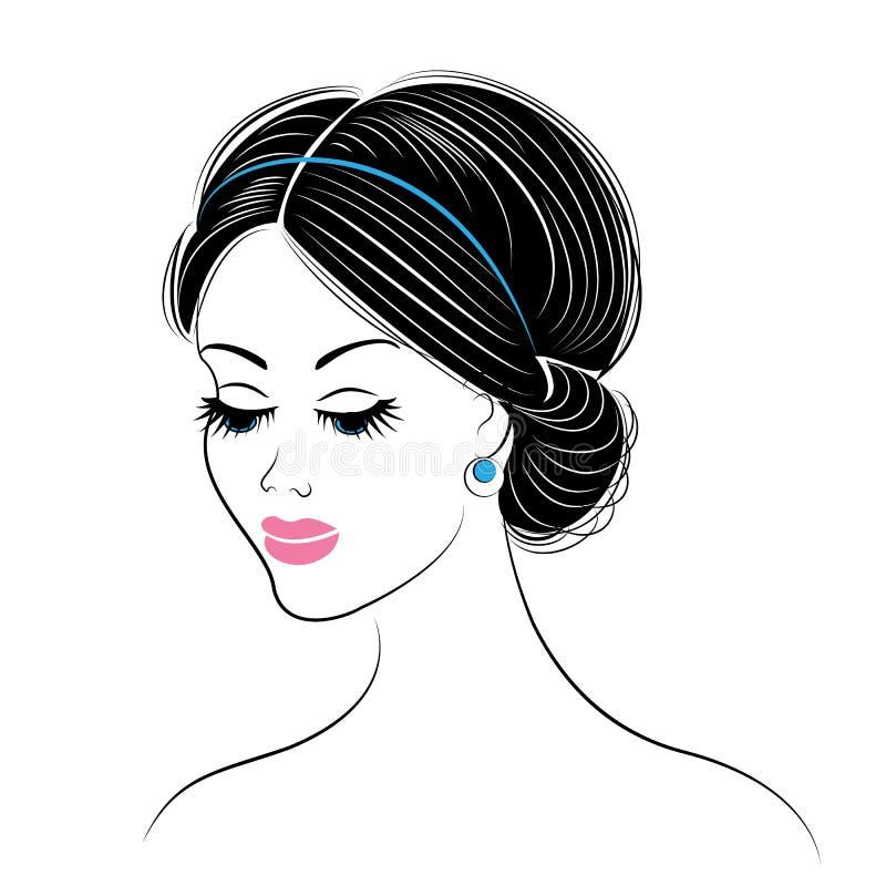 一个甜夫人的头的剪影 女孩显示长和中等头发的希腊发型 r 库存例证