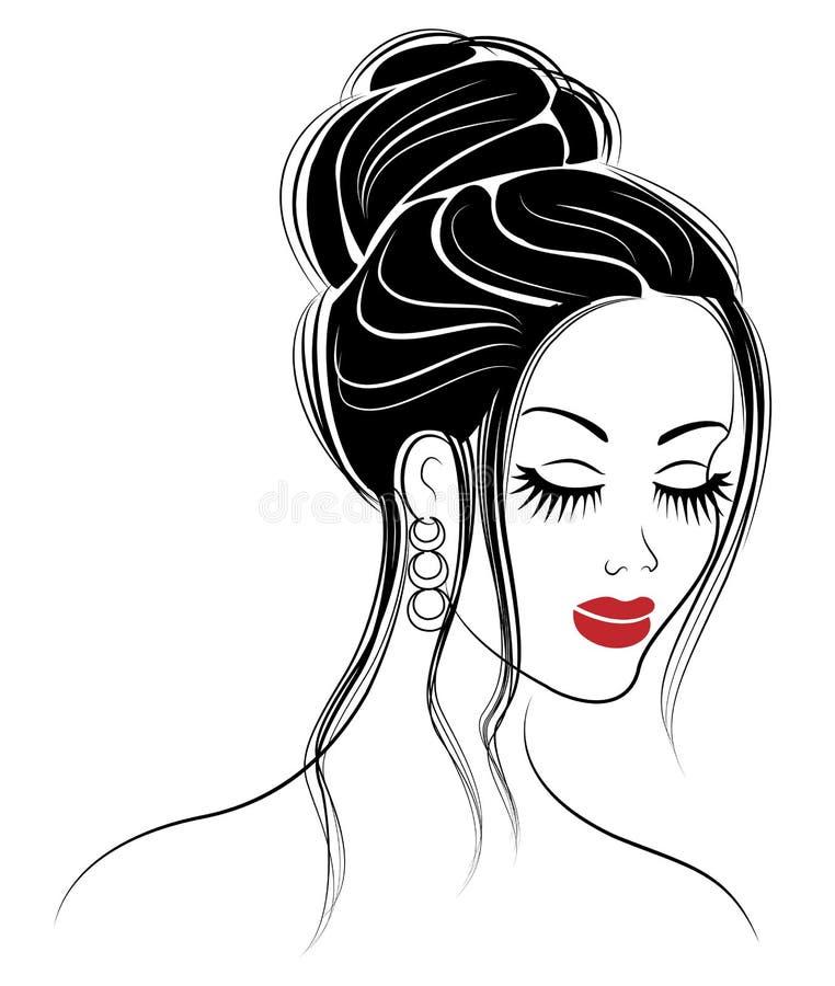 一个甜夫人的头的外形的剪影 女孩显示在媒介和长发的一种女性发型 适用于商标, 皇族释放例证