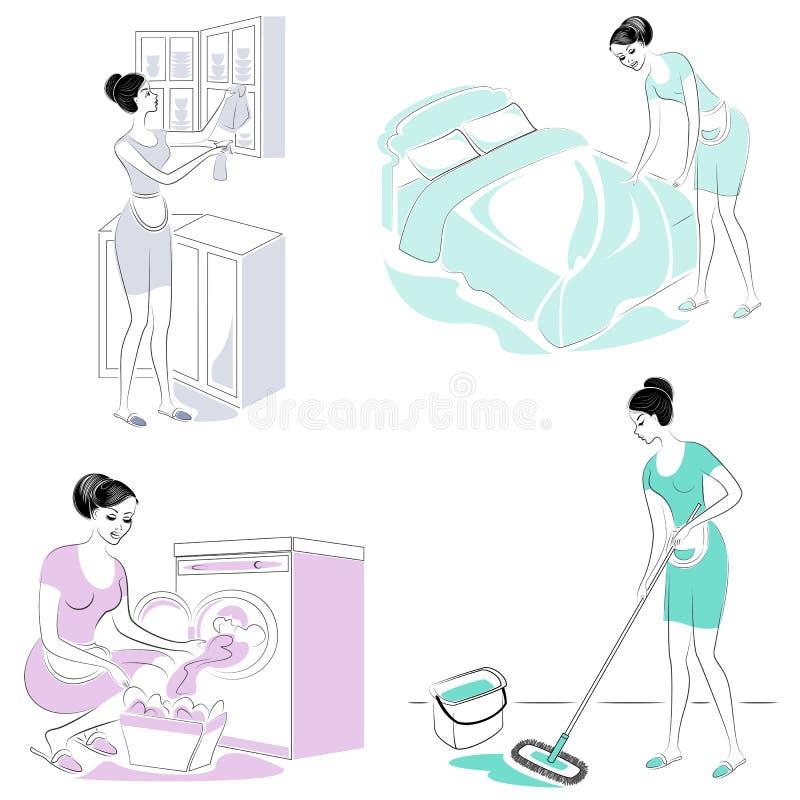 ?? 一个甜女孩在屋子里做一张床,洗涤壁橱在厨房里,洗涤地板,洗涤了洗衣店 一名妇女 皇族释放例证