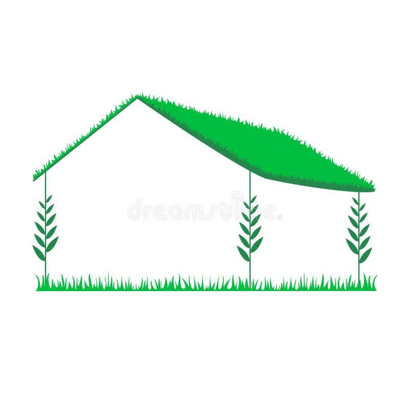 一个生态房子的概念有一个绿色屋顶的 按钮查出的现有量例证推进s启动妇女 为文本释放 皇族释放例证