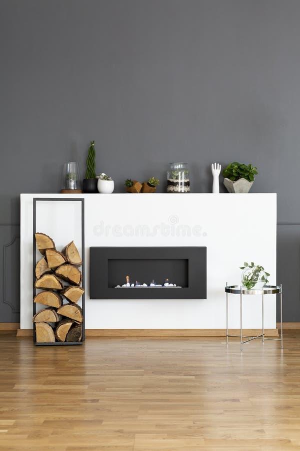 一个生物壁炉和一些木头的真正的照片在黑暗,简单的livi 库存照片