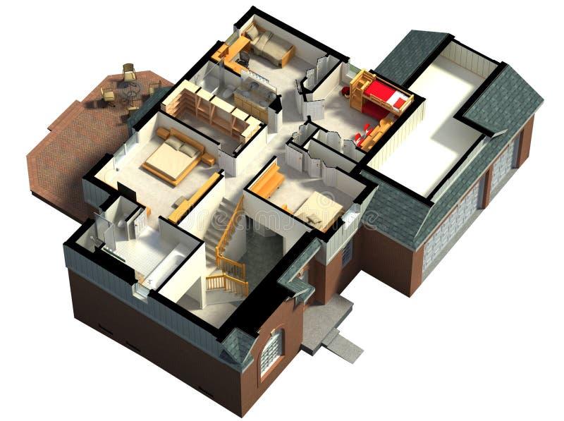 一个用装备的房子的等轴测图 皇族释放例证