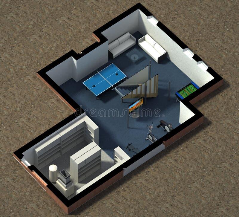 一个用装备的房子的等轴测图 向量例证