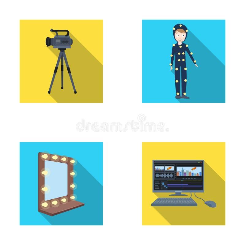 一个电影摄影机、一套衣服特技效果的和其他设备 做电影布景在平的样式传染媒介的汇集象 向量例证