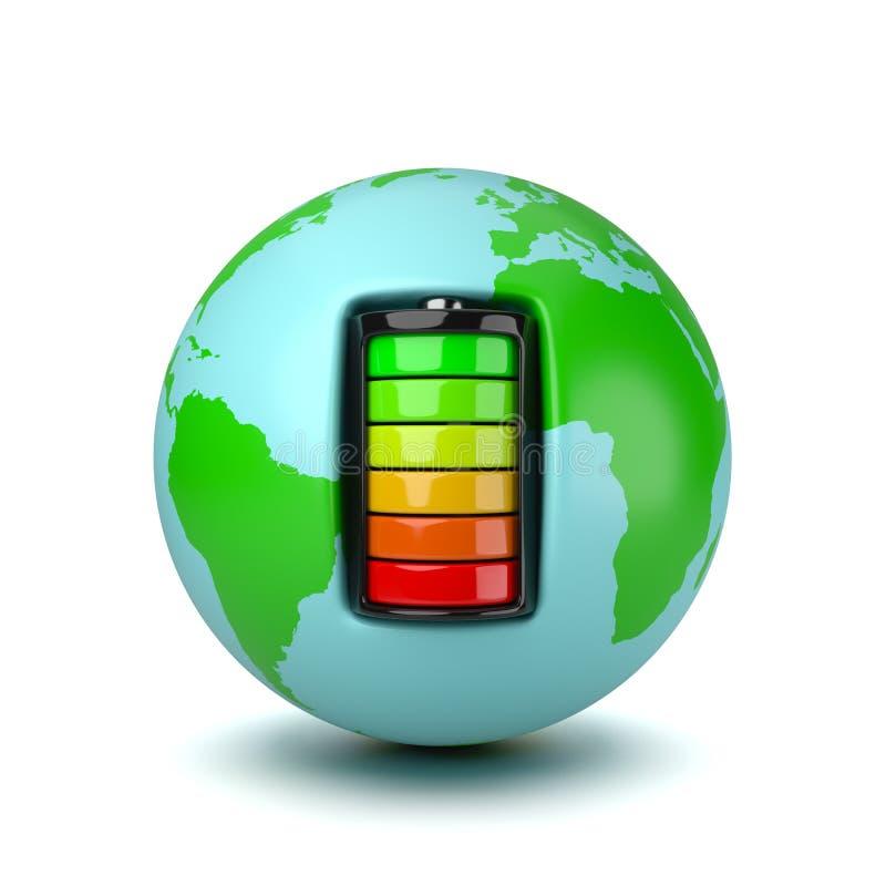一个电池供给动力的地球行星 向量例证