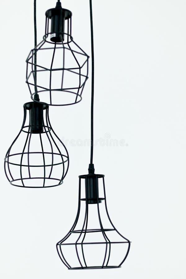 一个电灯是现代和葡萄酒对象内部 装饰在白色背景 免版税库存图片