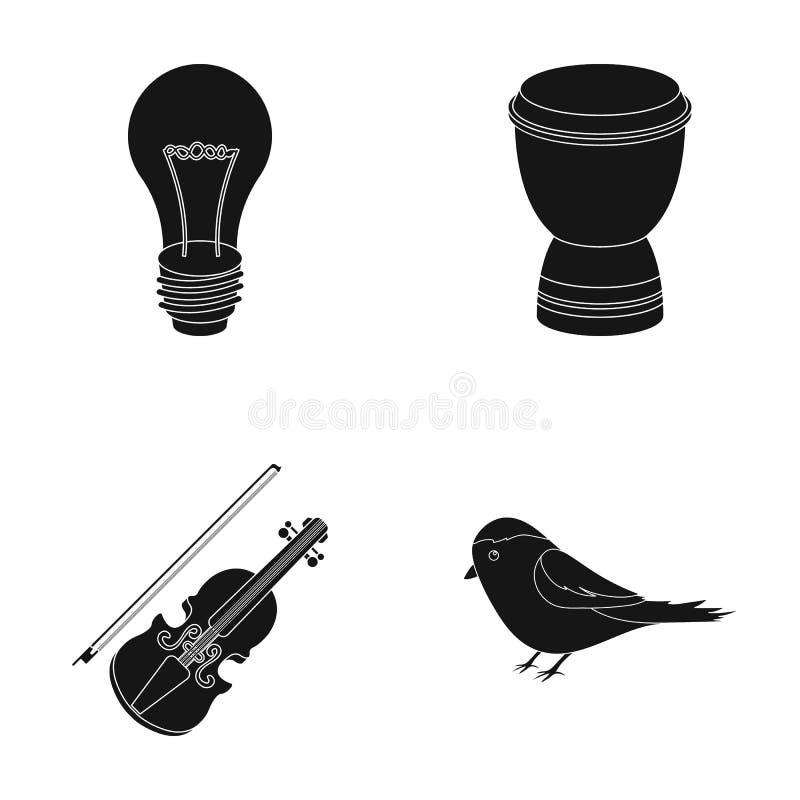 一个电灯泡、一个鼓和其他网象在黑样式 小提琴,在集合汇集的鸟象 库存例证