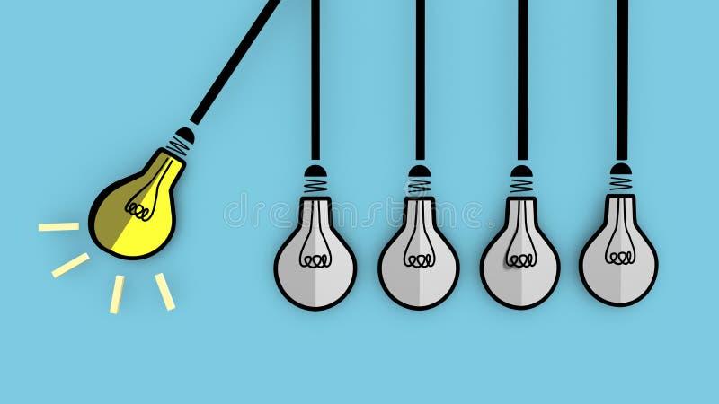 一个电灯泡将促进被熄灭的电灯泡 库存例证