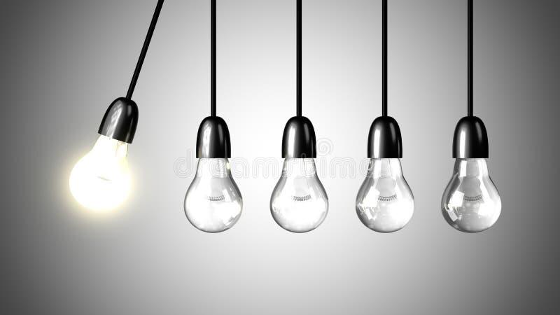 一个电灯泡将促进被熄灭的电灯泡 向量例证