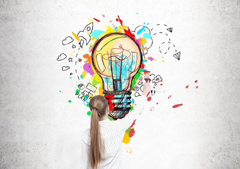画一个电灯泡的白肤金发的妇女 库存照片