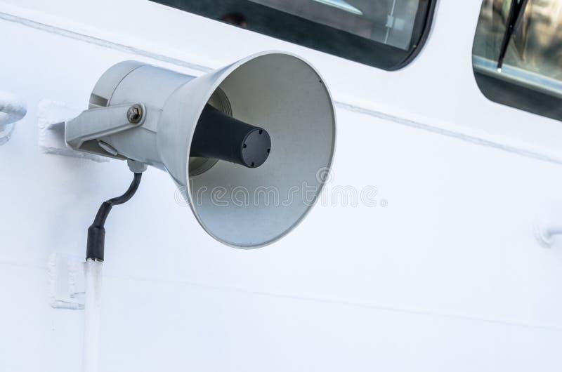一个电话的扩音机在船的 库存照片