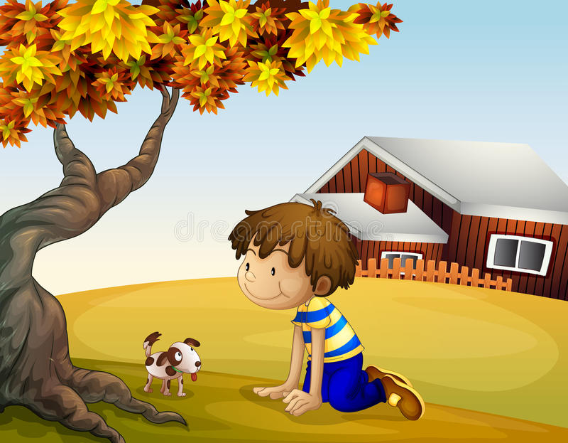 一个男孩和他的小狗在树下 向量例证