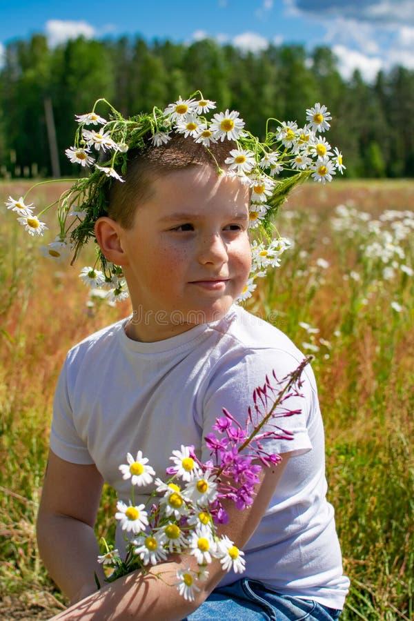一个男孩的画象一块花田的 免版税库存照片