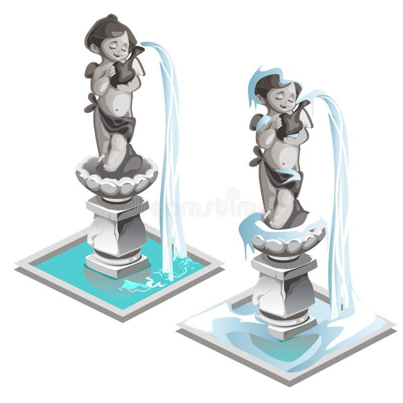 一个男孩的雕象喷泉有翼和投手的 向量例证