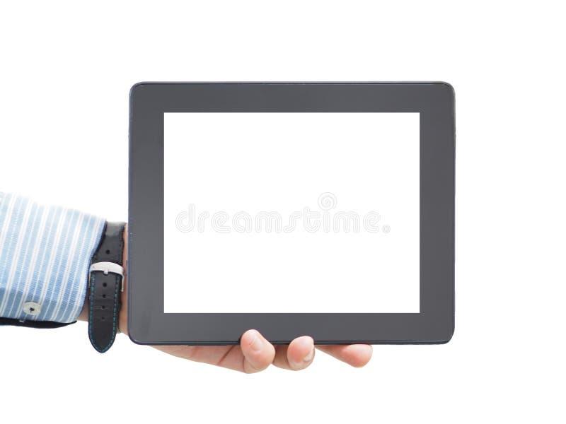 一个男性商人在他的手上的拿着一种片剂 概念性 空白片剂屏幕 库存图片