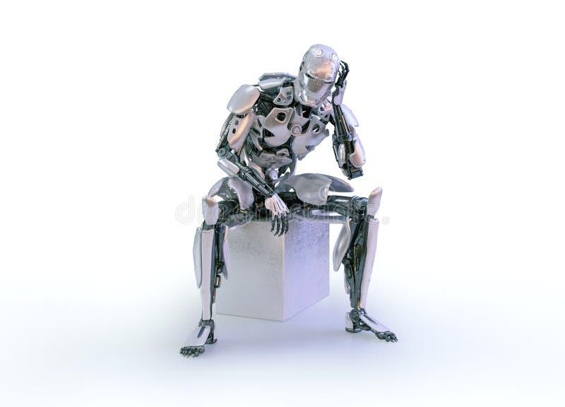 一个男性有人的特点的机器人、机器人或者靠机械装置维持生命的人,下来和认为坐演播室背景 3d例证 库存例证