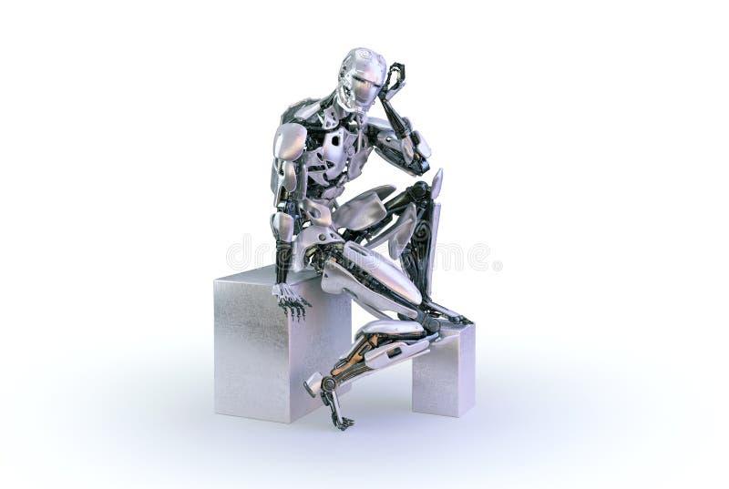 一个男性有人的特点的机器人、机器人或者靠机械装置维持生命的人,下来和认为或计算坐白色演播室背景 3d例证 向量例证
