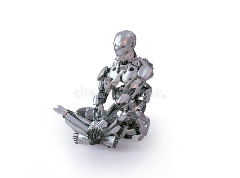 一个男性有人的特点的机器人、机器人或者靠机械装置维持生命的人,下来坐演播室地板,认为 信函 皇族释放例证