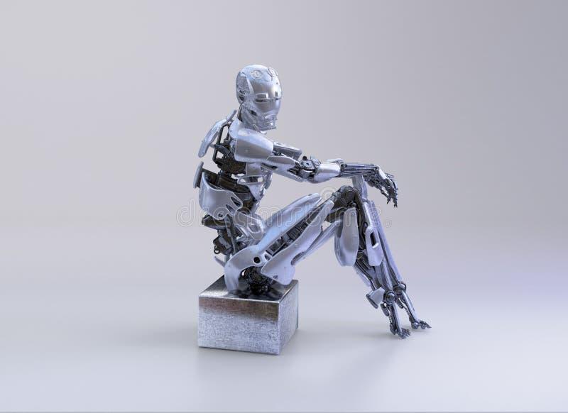 一个男性有人的特点的机器人、机器人或者靠机械装置维持生命的人,下来坐演播室背景 3d例证 库存例证