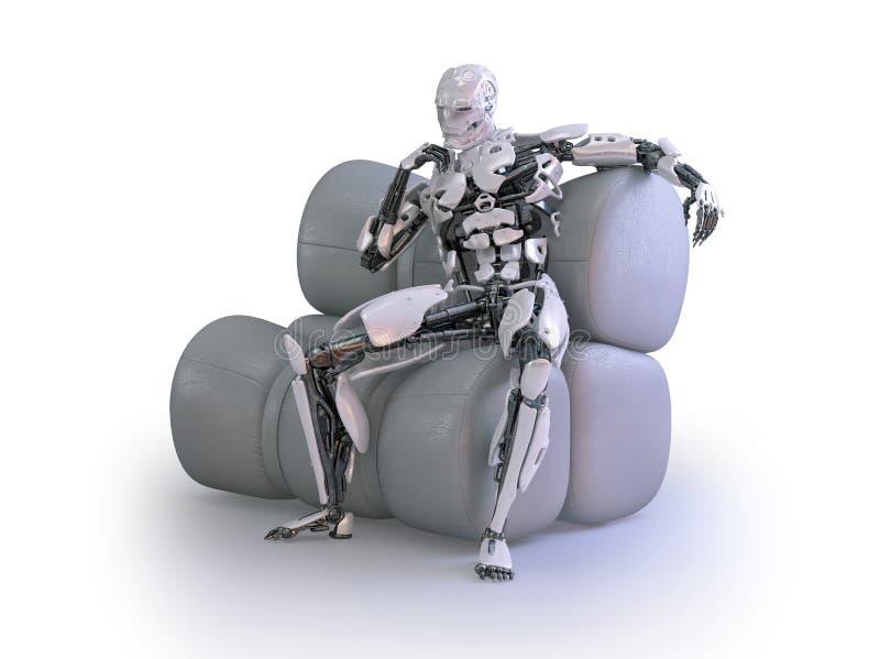 一个男性有人的特点的机器人、机器人或者靠机械装置维持生命的人,坐舒适的长沙发 3d例证 库存例证