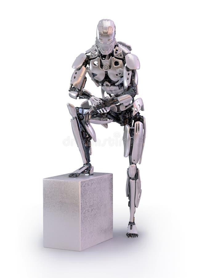 一个男性有人的特点的机器人、机器人或者靠机械装置维持生命的人,看在腕子的手表,被隔绝 3d例证 向量例证