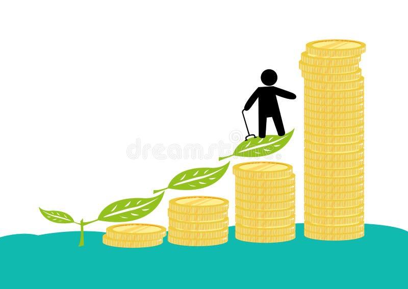 一个男性领抚恤金者或一个资深人以伤残与他的投资或储款 库存例证