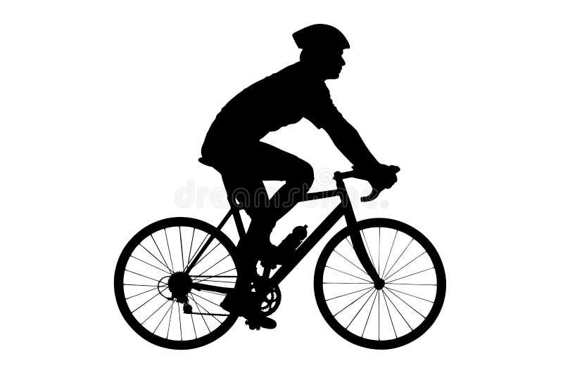 一个男性骑自行车的人的剪影有盔甲骑自行车的 库存例证