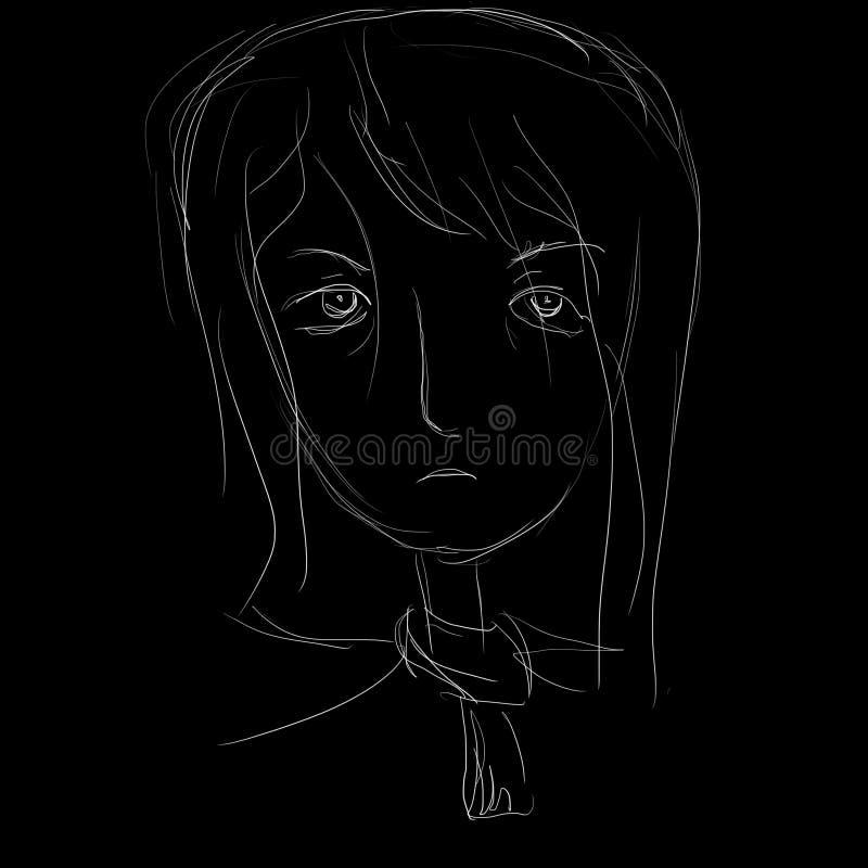 一个疲乏的哀伤的女孩的画象 免版税库存图片