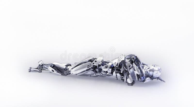 一个疲乏的男性有人的特点的机器人、机器人或者靠机械装置维持生命的人,说谎在地板上 3d例证 免版税库存图片