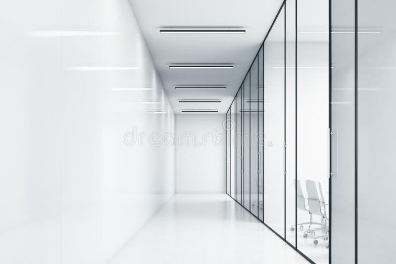 一个白色办公室的空的走廊 库存例证