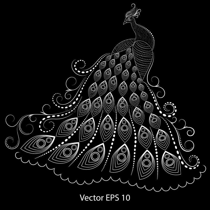 一个白色孔雀的抽象例证在黑背景的,quilling 向量例证