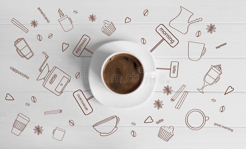 一个白色杯子煮的咖啡 免版税库存图片