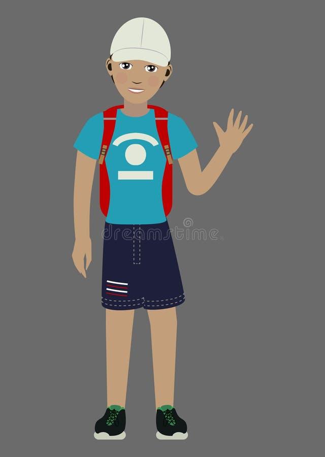 一个白色盖帽的人,蓝色T恤杉,蓝色短裤,有一个红色背包的黑运动鞋 库存例证