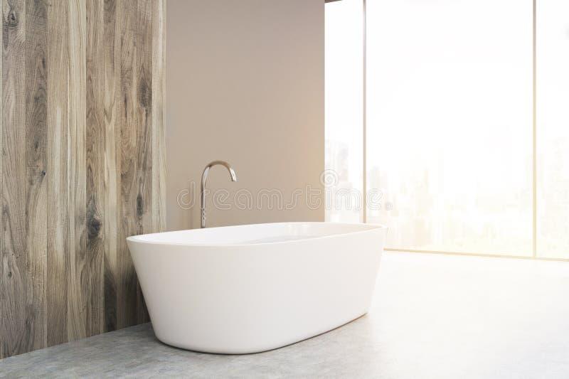 一个白色浴缸的侧视图,被定调子 库存例证
