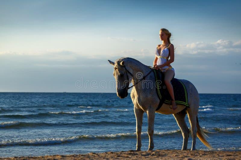 一个白马的美丽的女孩在海的背景,亚马逊礼服的  假日和假期概念 免版税库存图片