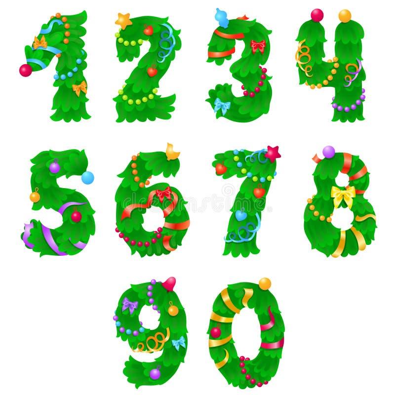 从一个的数字到零象与丝带和诗歌选的圣诞树 图库摄影