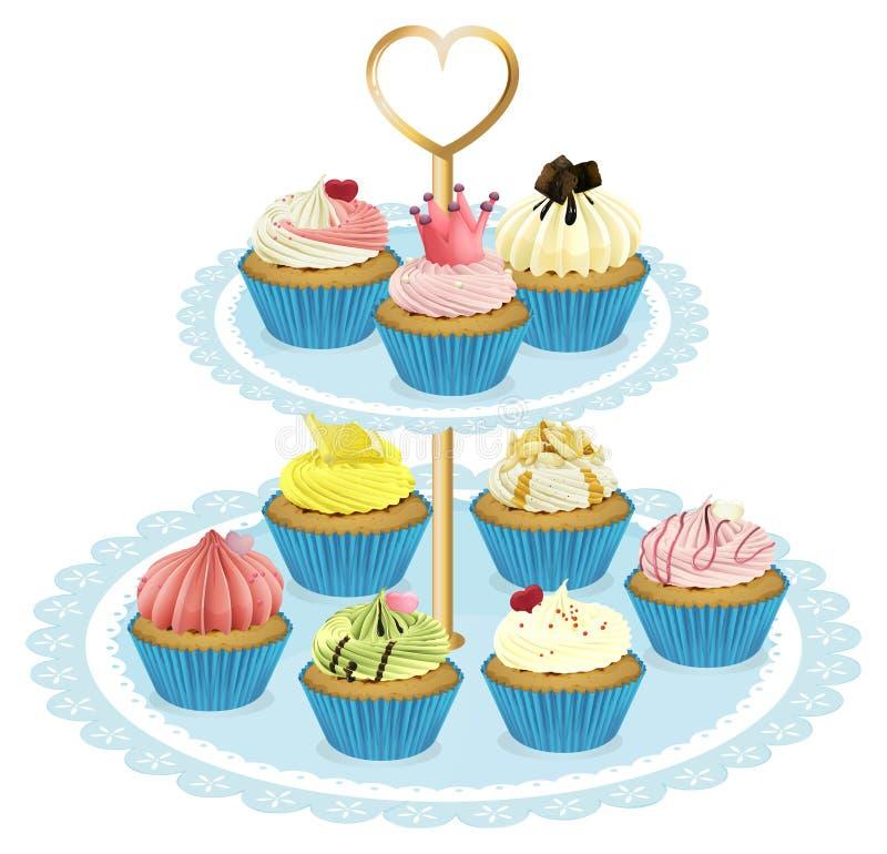 一个盘子用杯形蛋糕 向量例证