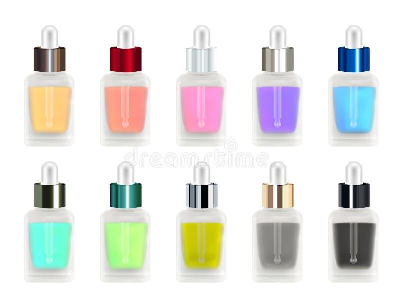 一个真正的3d五颜六色的玻璃瓶的套有滴管的 库存例证