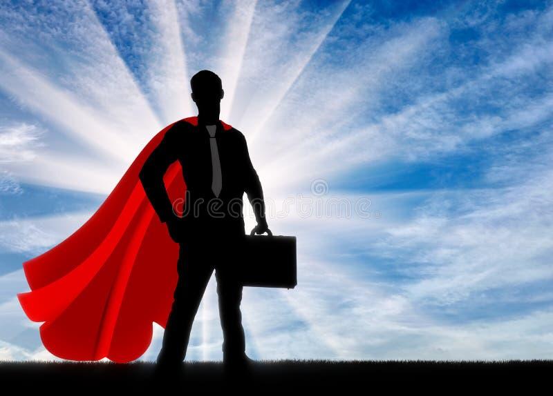 一个确信和强的超人商人的剪影 免版税图库摄影