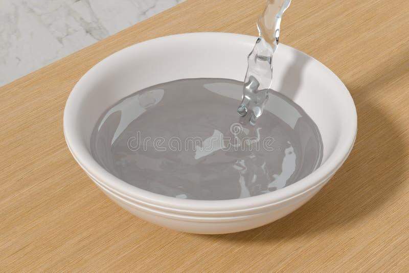 一个碗水和飞溅液体,3d翻译 库存例证