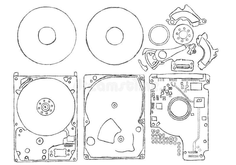 一个磁性硬盘驱动器componets的例证 免版税库存图片