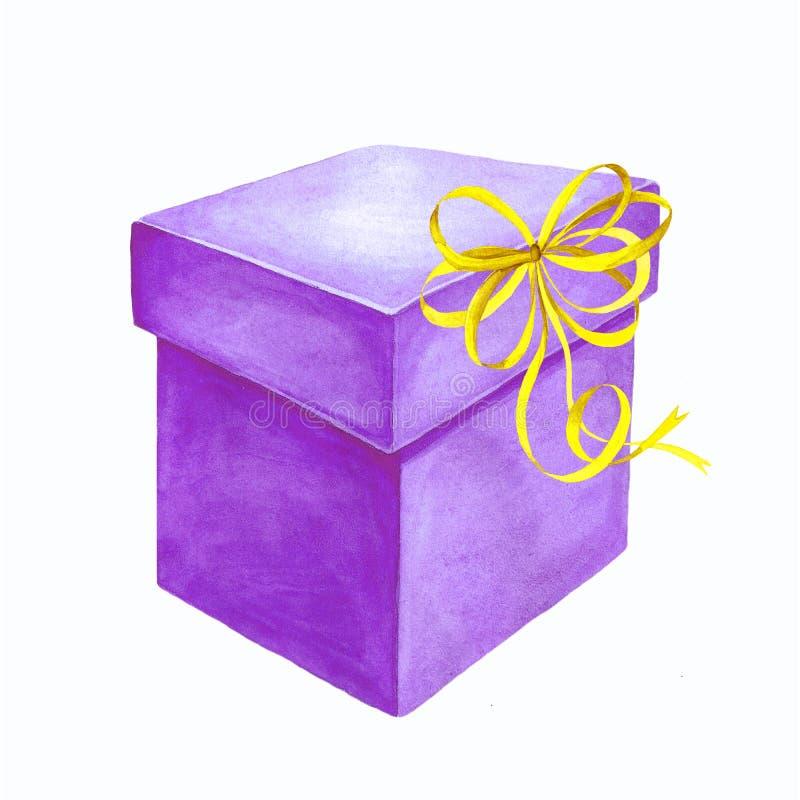 一个礼物盒的水彩例证有丝带弓的 免版税库存照片
