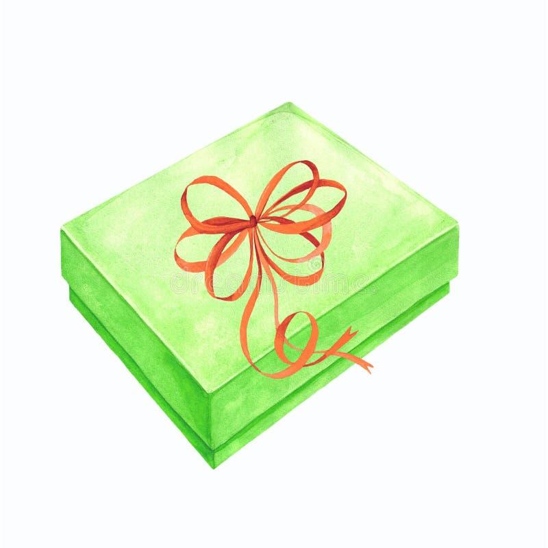 一个礼物盒的水彩例证有丝带弓的 免版税库存图片