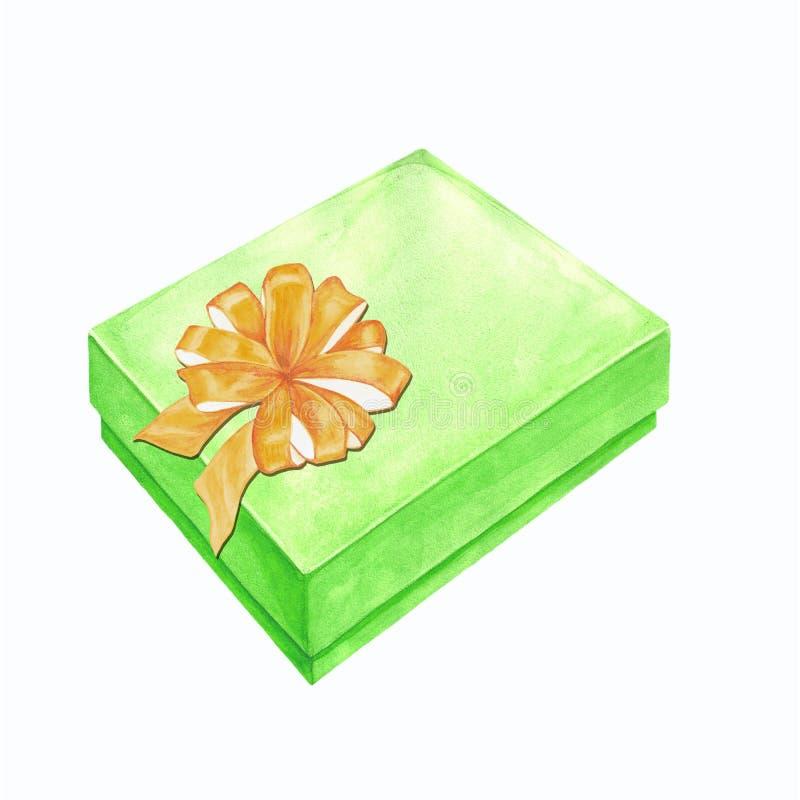 一个礼物盒的水彩例证有丝带弓的 图库摄影