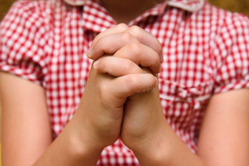 一个祈祷的孩子的手 库存图片