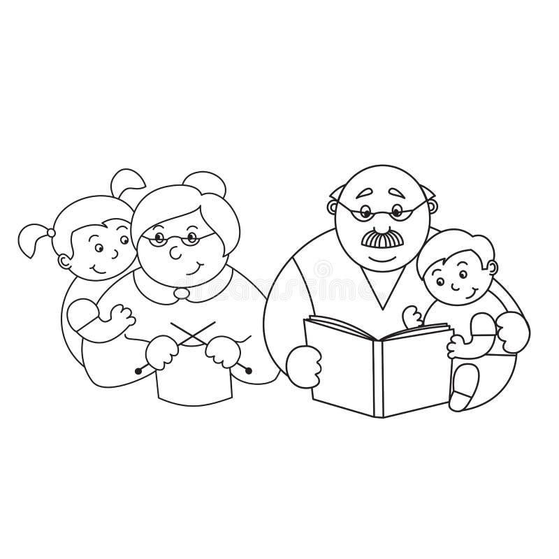 一个祖母和祖父有她的孙的,编织一个年长的夫人,读bo的一个年长人的传染媒介例证 皇族释放例证